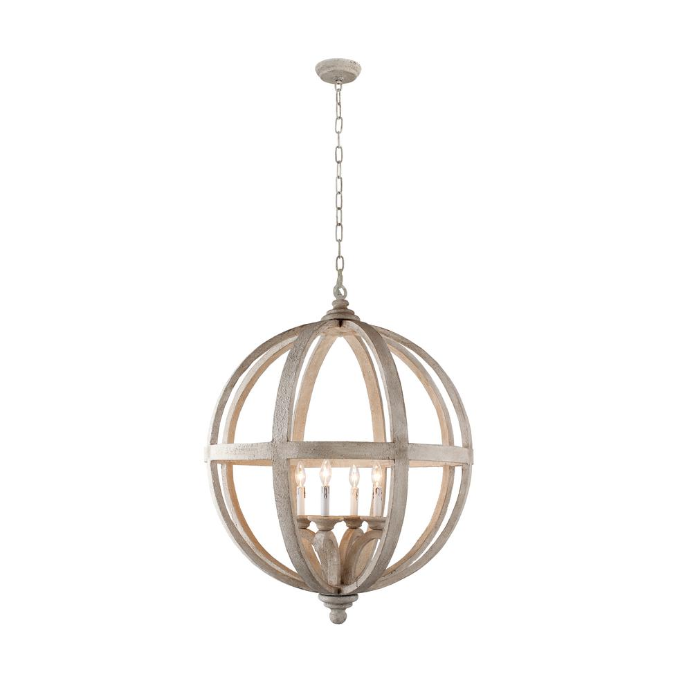 Hercules 4 Light Brown Wood Globe Chandelier