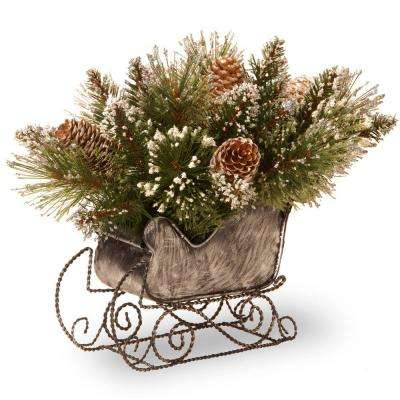 10 in. Glittery Bristle Pine Artificial Arrangement in Sleigh