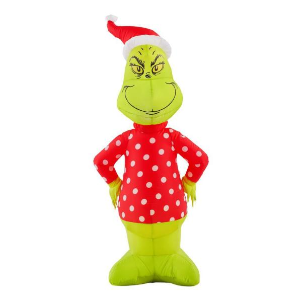 4 ft. Inflatable Grinch with Polka Dot Sweater and Santa Hat