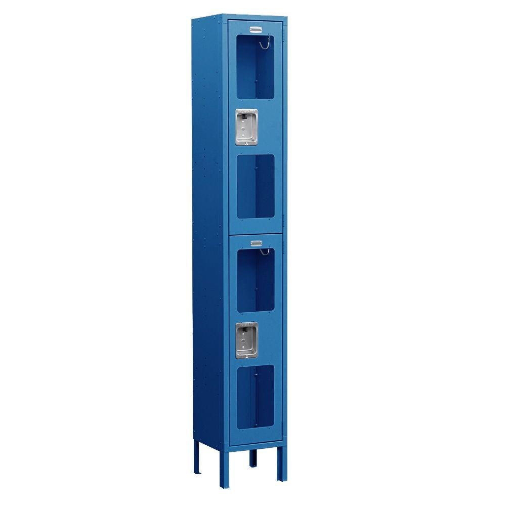 Salsbury Industries S-62000 Series 12 in. W x 78 in. H x 12 in. D 2-Tier See-Through Metal Locker Assembled in Blue