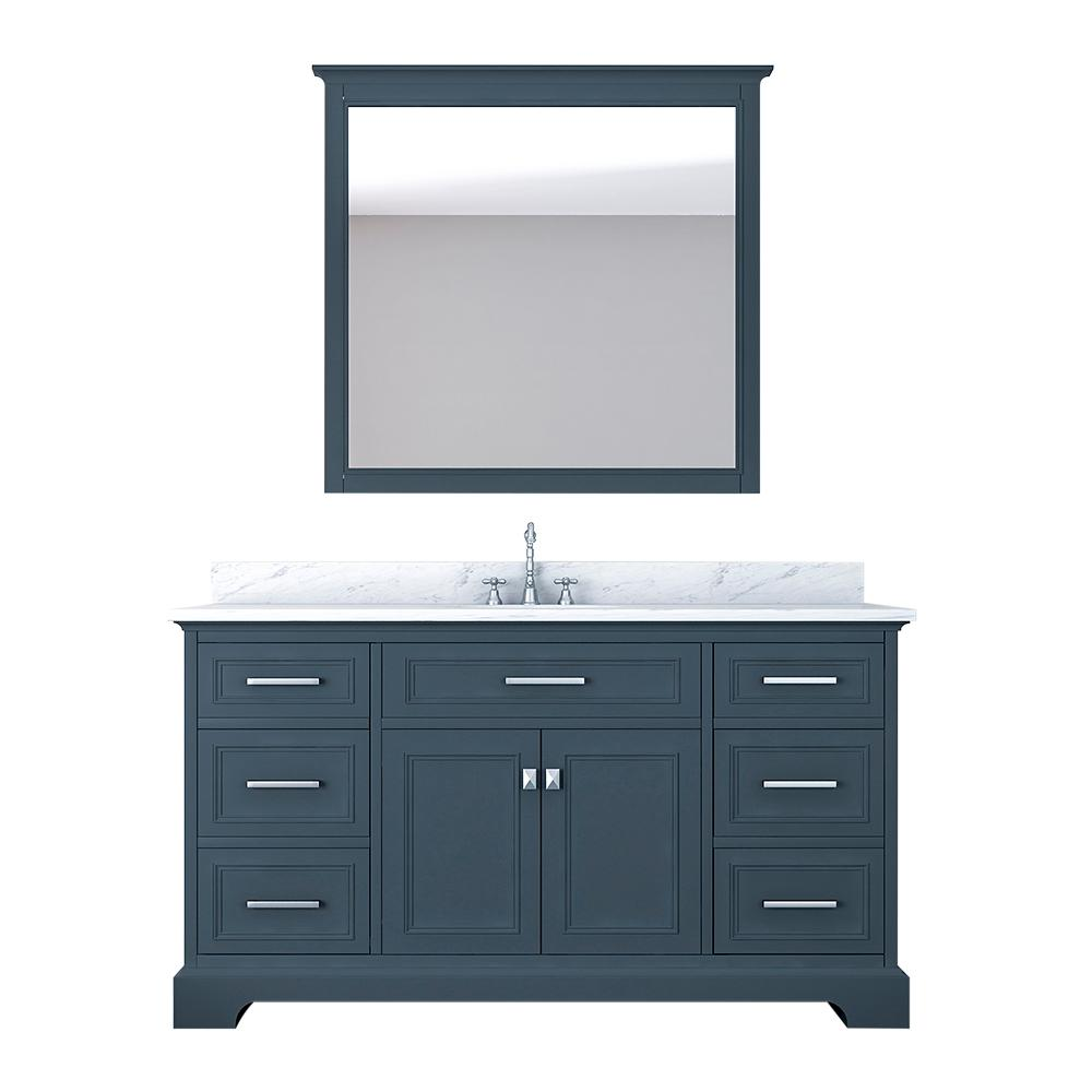Design Element Laxton 61 in. W x 22 in. D Bath Vanity in Gray with Marble Vanity Top in White with White Basin and Mirror