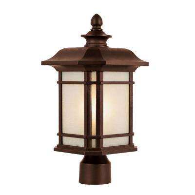 San Miguel 13.5 in. 1-Light Rust CFL Outdoor Postmount Lantern