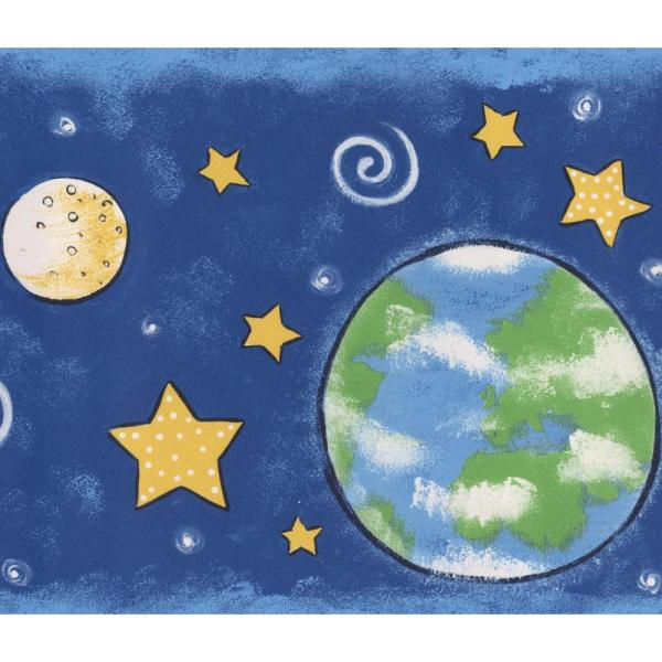 Outer Space Planets Stars Navy Blue Prepasted Wallpaper Border