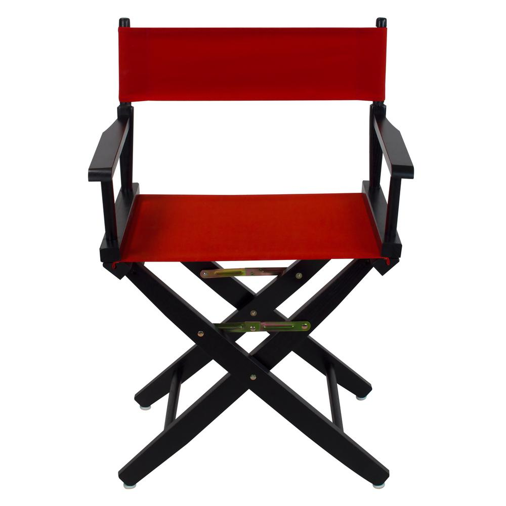 Superb American Trails 18 In Extra Wide Black Wood Frame Red Canvas Seat Folding Directors Chair Squirreltailoven Fun Painted Chair Ideas Images Squirreltailovenorg