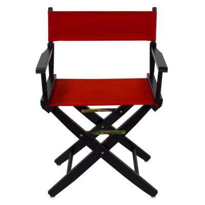 18 in. Extra-Wide Black Wood Frame/Red Canvas Seat Folding Directors Chair