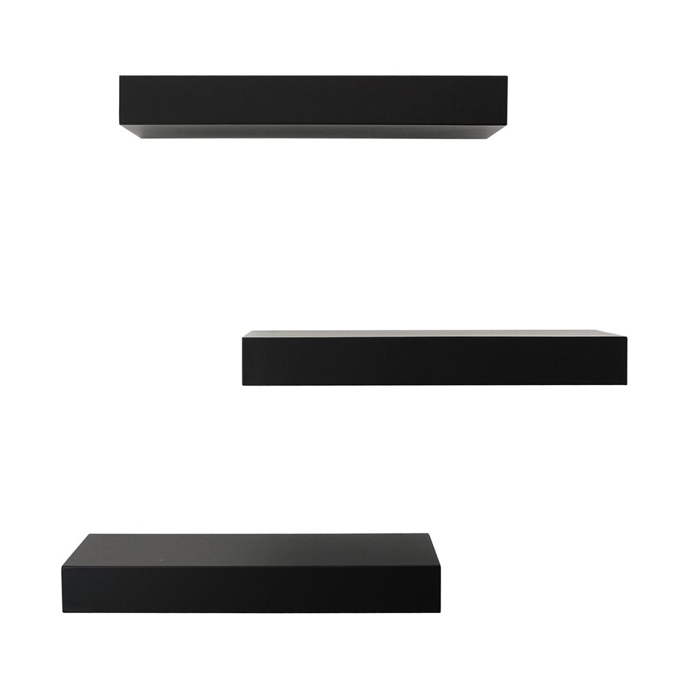 d 3 pack black floating wall shelf