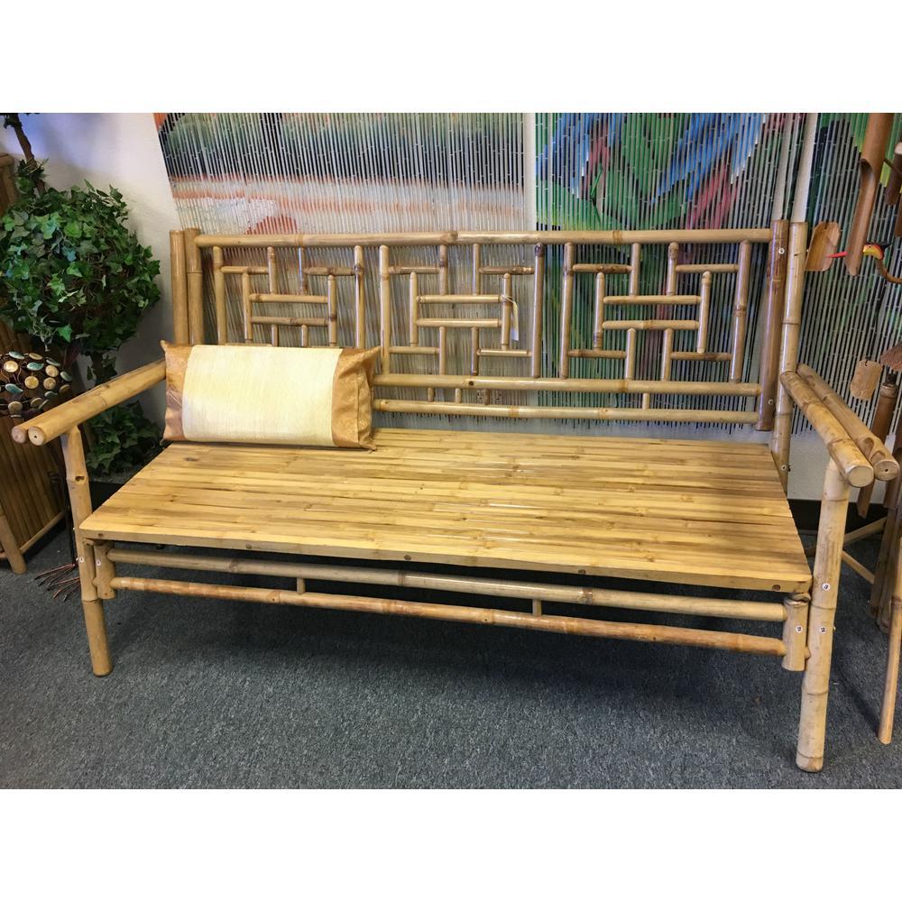 Swell Natural Bamboo Standard Lattice Back Bench Customarchery Wood Chair Design Ideas Customarcherynet