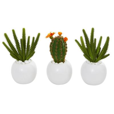 8 in. Cactus Succulent Artificial Plant in White Planter (Set of 3)