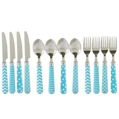 Retro Diner 12-Piece Turquoise Stainless Steel Flatware Set
