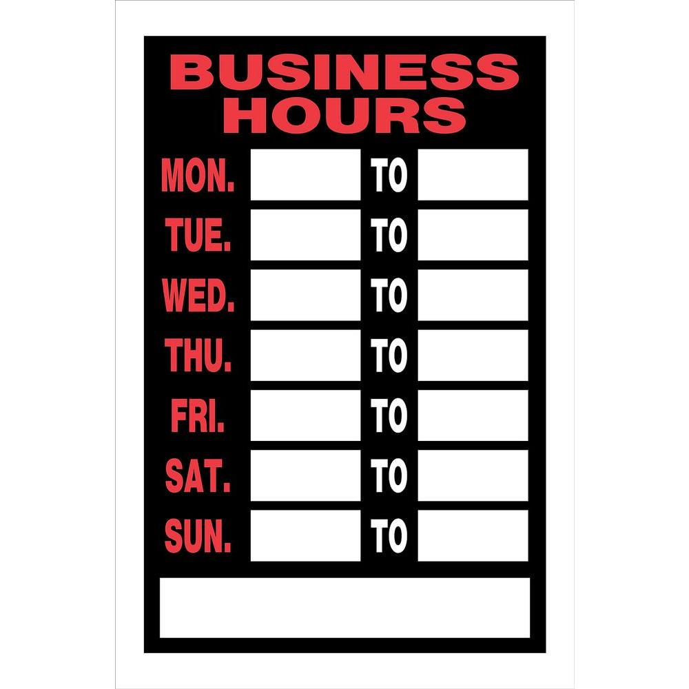 Home Depot Store Departments: Hillman 8 In. X 12 In. Plastic Business Hours Sign-839888