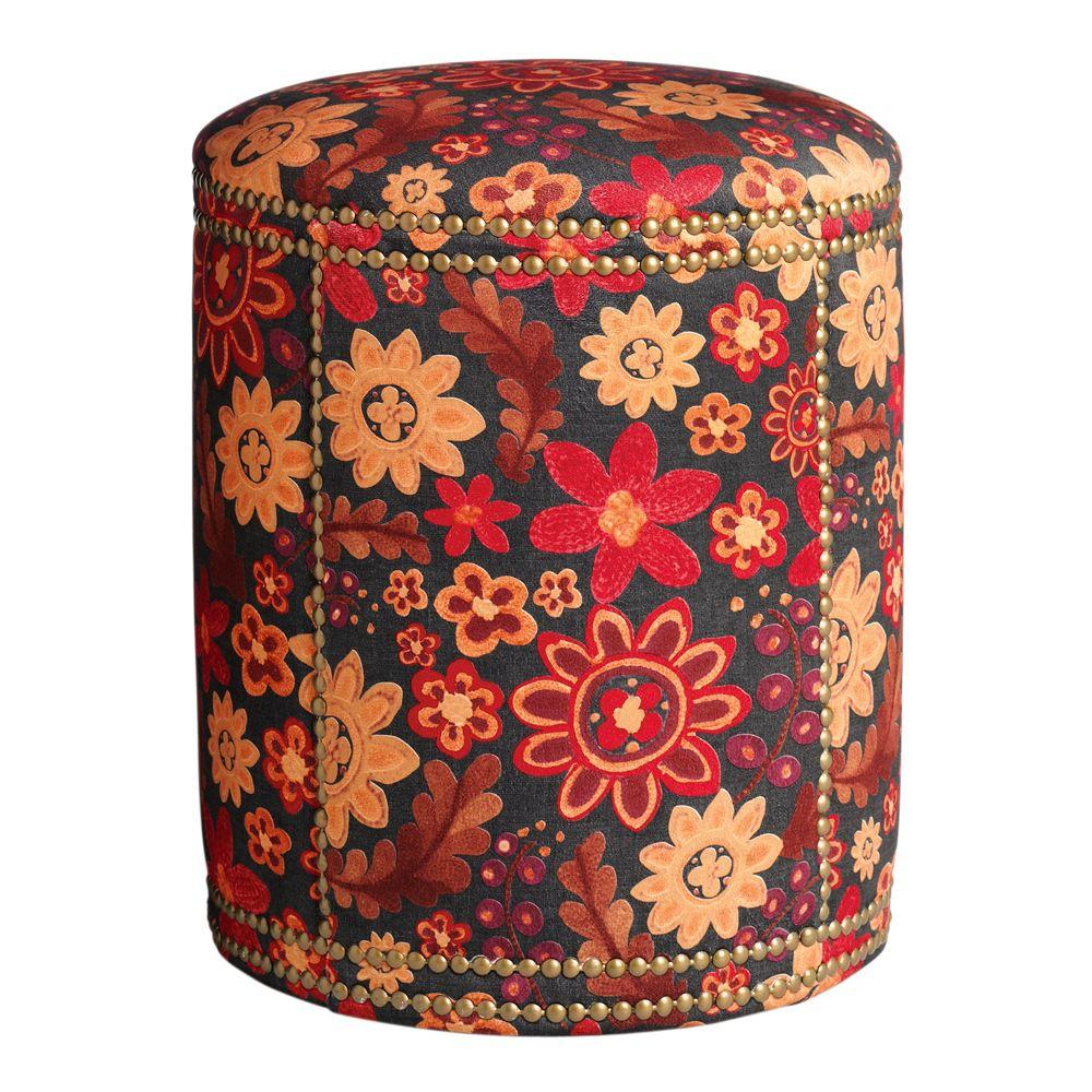 Home Decorators Collection Hazelton Red and Orange Floral 15.25 in. W Ottoman