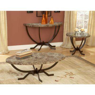 Monaco Matte Espresso Marble Top End Table