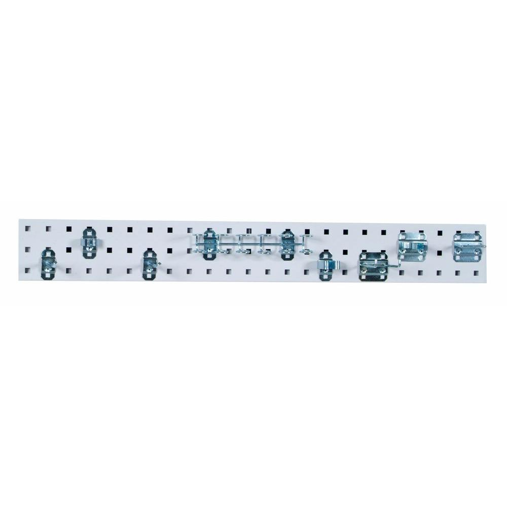 LocBoard 3/8 in. White Pegboard Wall Organizer Strip with Assortment (8-Piece)