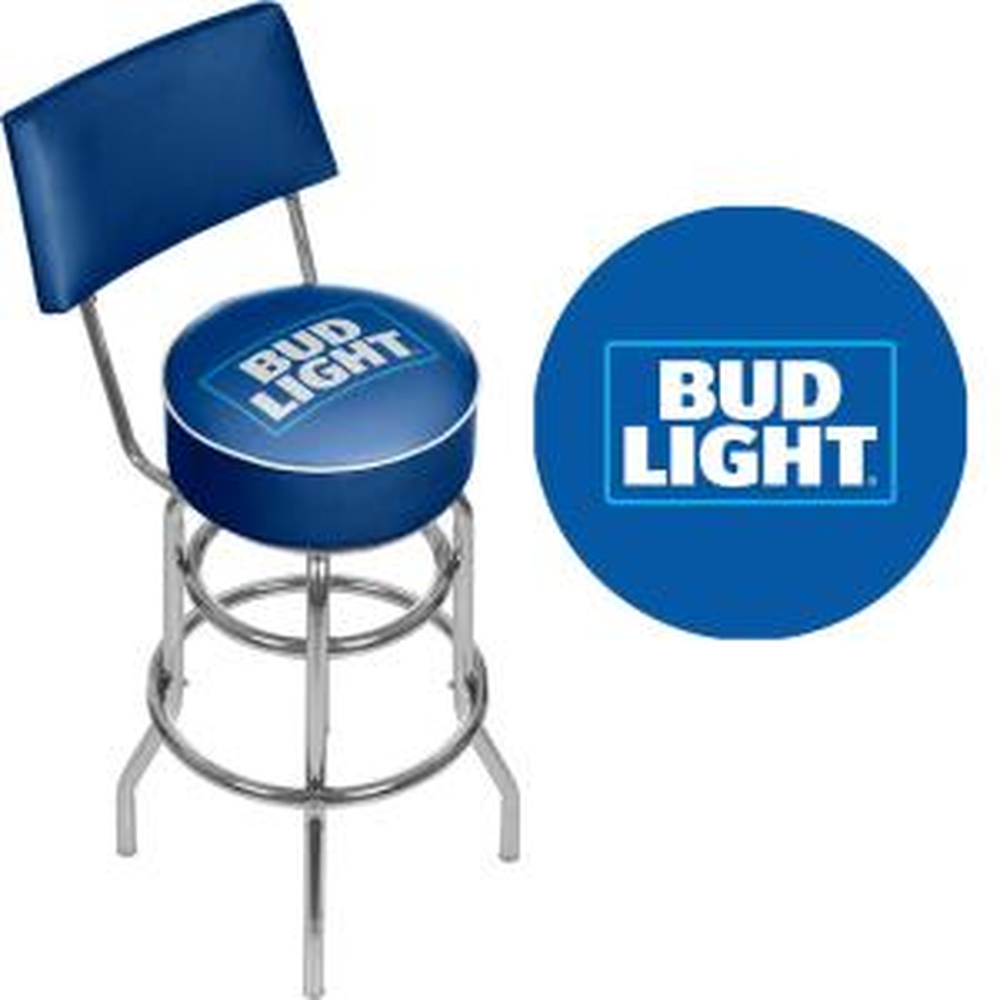 Bud Light Blue 30 In Chrome Swivel Cushioned Bar Stool