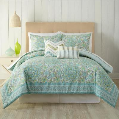 Stamped Indian 5-Piece Floral Queen Comforter Set