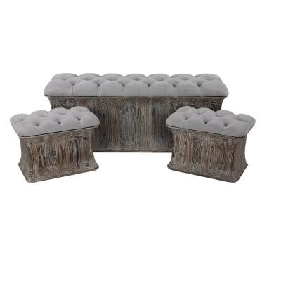 Gray Faux Leather Cushioned Storage Benches (Set of 3)