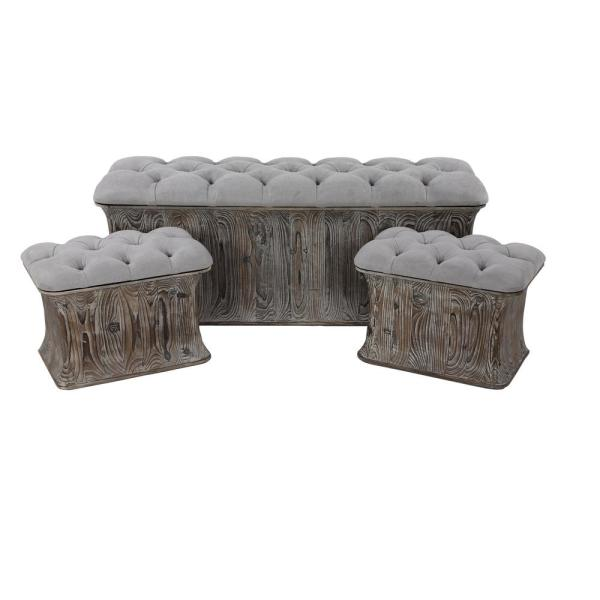 Litton Lane Gray Faux Leather Cushioned Storage Benches (Set of 3)