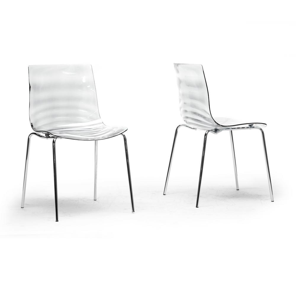 Baxton Studio Marisse Clear Finished Plastic Dining Chairs Set Of 2 2pc 4744 Hd The Home Depot