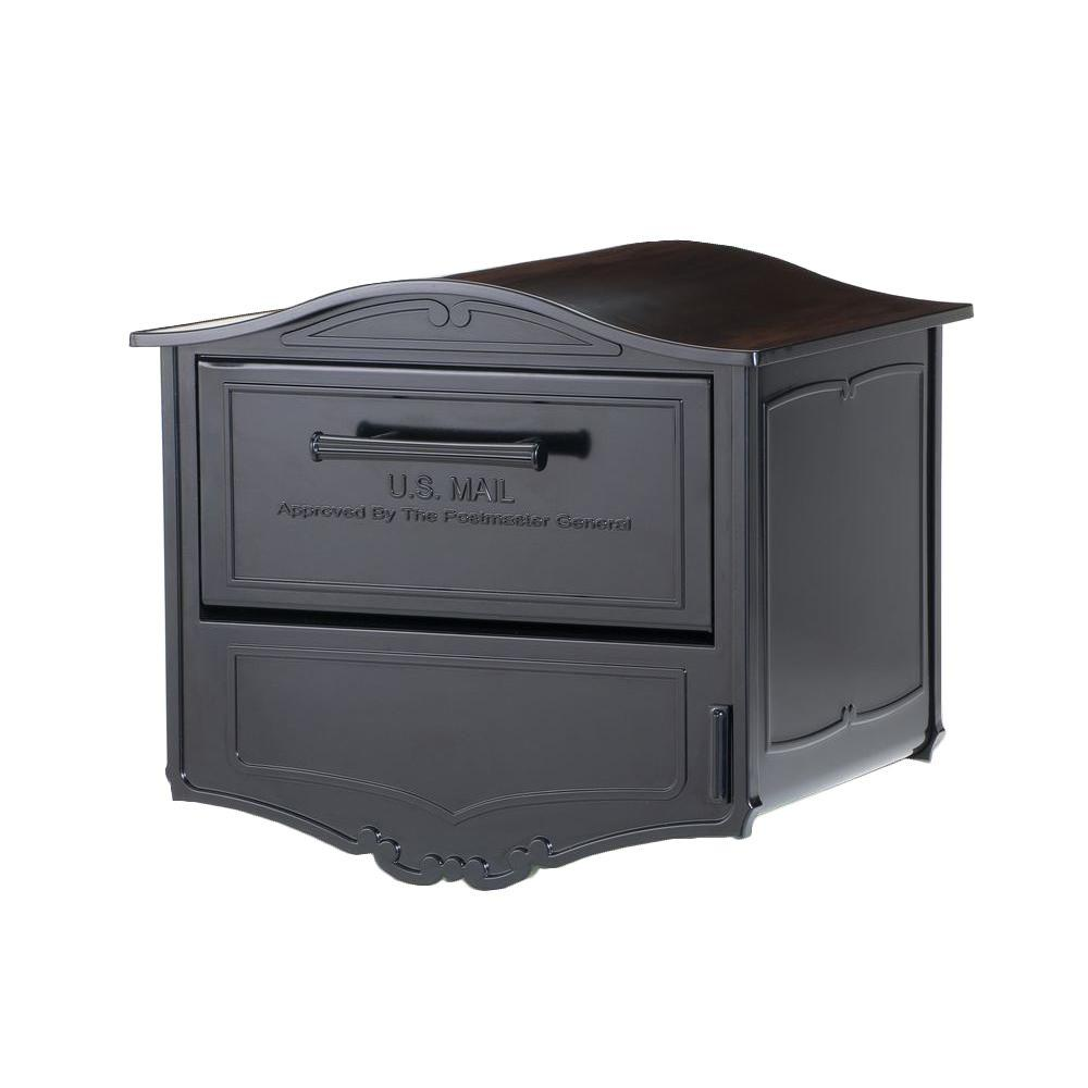 Architectural Mailboxes Geneva Black Post-Mount Locking Mailbox