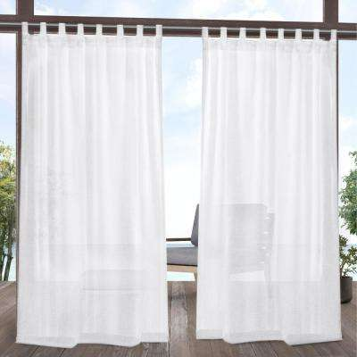 Tao 54 in. W x 84 in. L Indoor Outdoor Sheer Tab Top Curtain Panel in White (2 Panels)