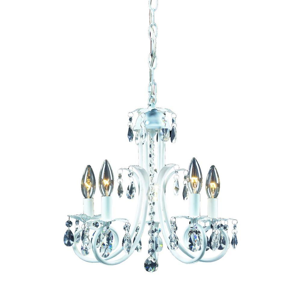 Lawrence 5-Light White Incandescent Ceiling Chandelier