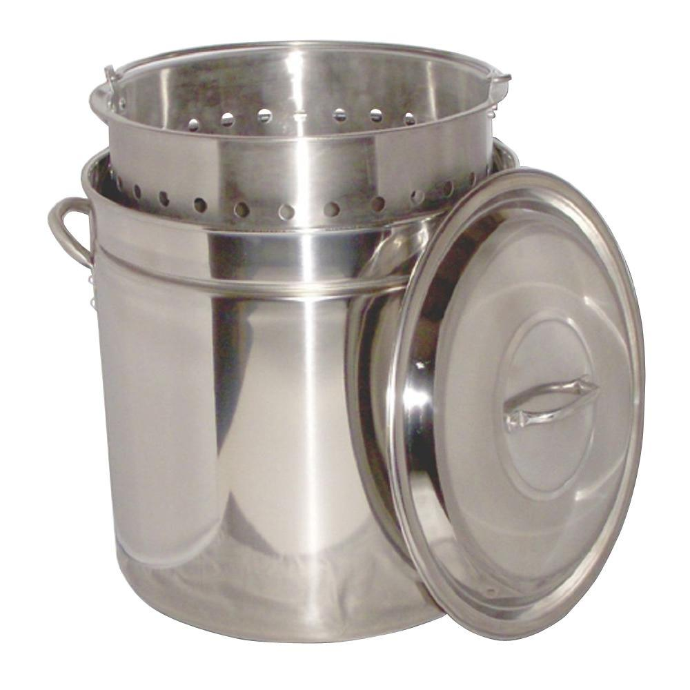 King Kooker 102 Qt Stainless Steel Stock Pot With Basket And Steam Rim