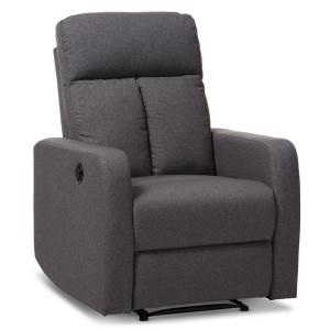 Baxton Studio Garland Gray Fabric Upholstered Power Recliner by