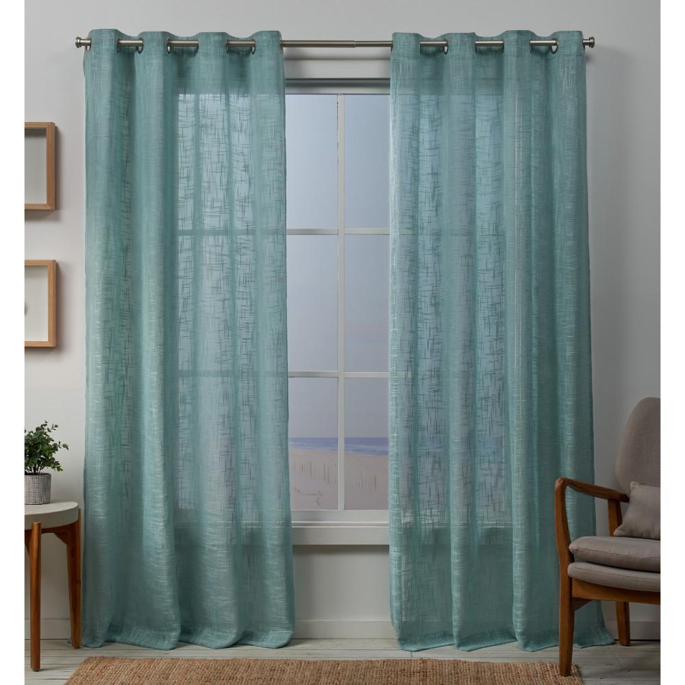 Sena 54 in. W x 96 in. L Sheer Grommet Top Curtain Panel in Seafoam (2 Panels)