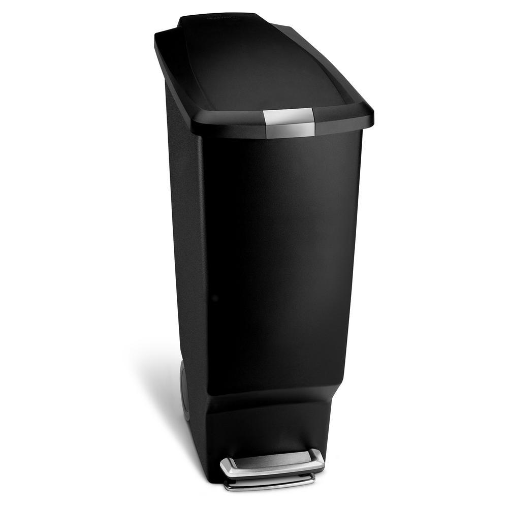 40-Liter Black Plastic Slim Step-On Trash Can