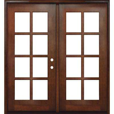 60 in. x 80 in. Craftsman Richmond 8-Lite Left-Hand Inswing Chestnut Mahogany Wood Prehung Front Door