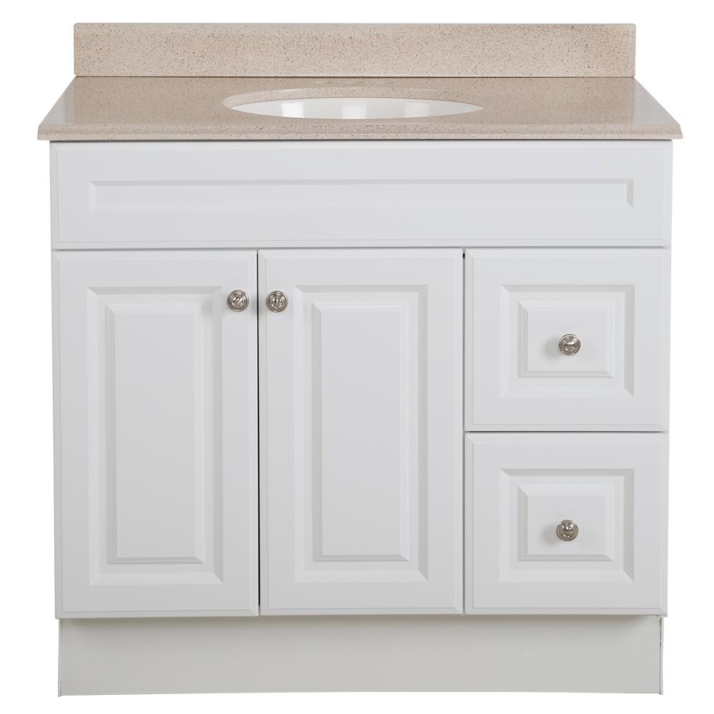 Glacier Bay Glensford 36 in. W x 22 in. D Bathroom Vanity in White with Colorpoint Vanity Top in Maui with White Sink