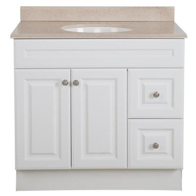 Glensford 36 in. W x 22 in. D Bathroom Vanity in White with Colorpoint Vanity Top in Maui with White Sink