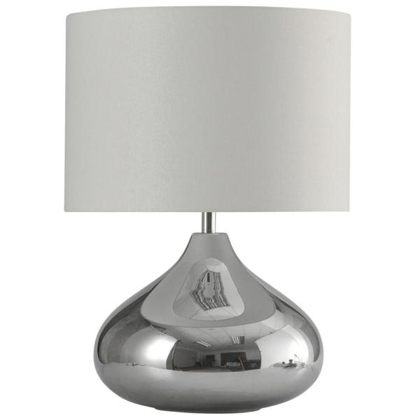 26.3 in. Smoke Table Lamp with White Hardback Fabric Shade