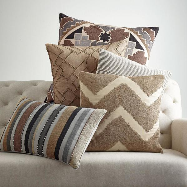 The Company Store Embroidered Neutral Chevron 20 In X 20 In