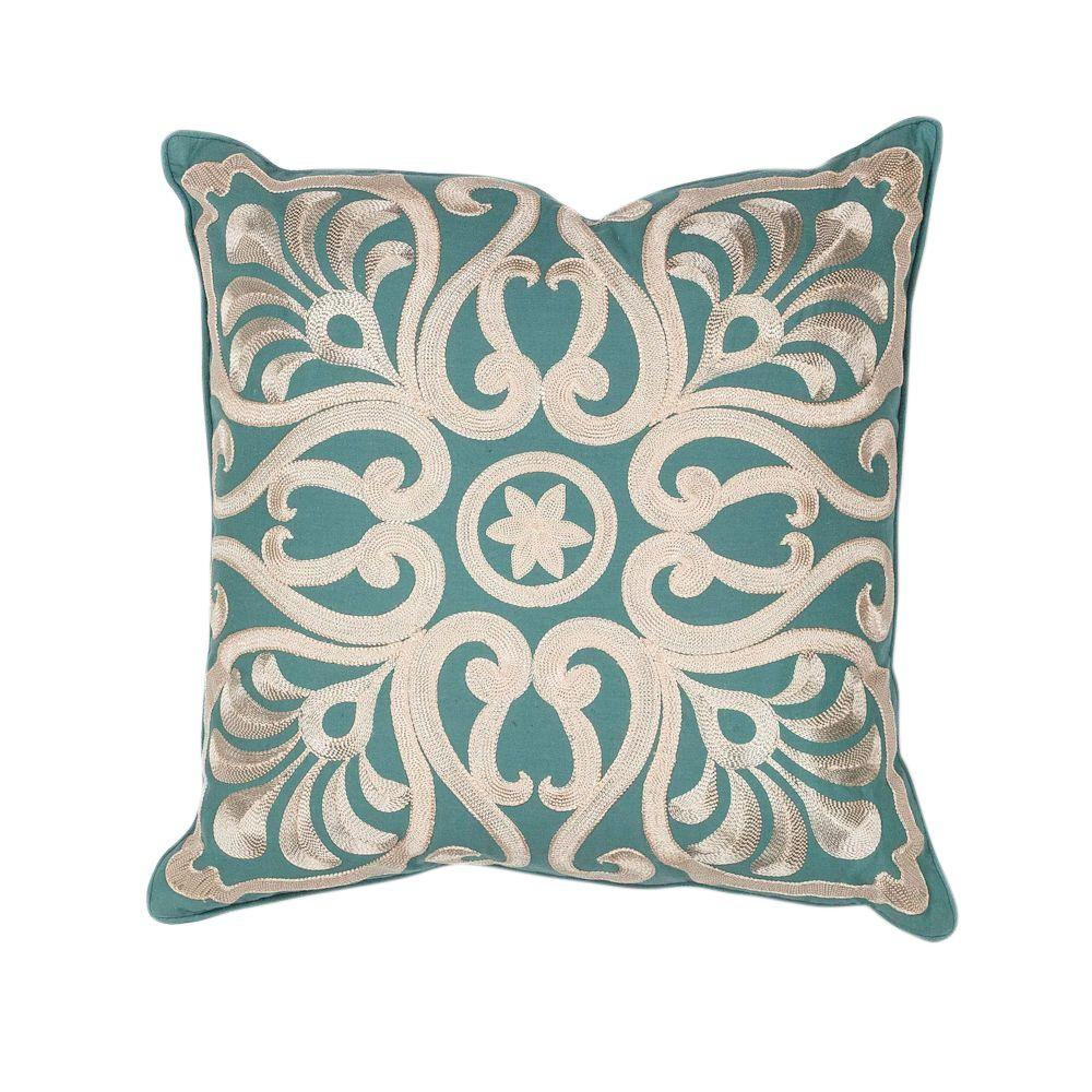 Embroidery Scapes Teal Decorative Pillow