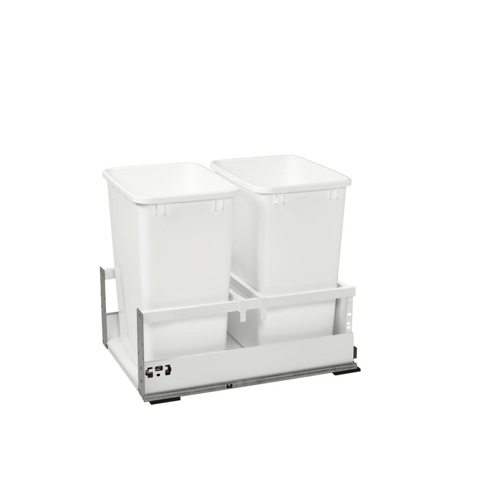 Rev-A-Shelf 19 in. H x 15.5 in. W x 22.41 in. D Double 35 Qt. White Pull-Out Wood Bottom Mount Waste Container for Opening