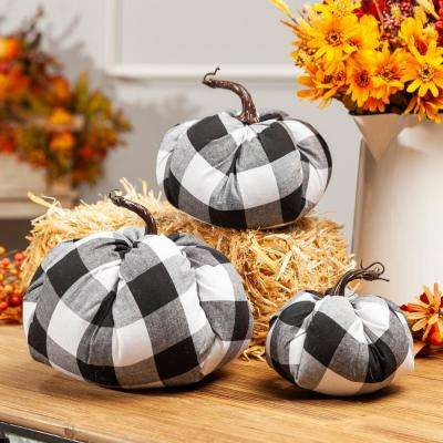 Assorted 6 in. H Sized Black and White Plaid Pumpkins Harvest Decor (Set of 3)