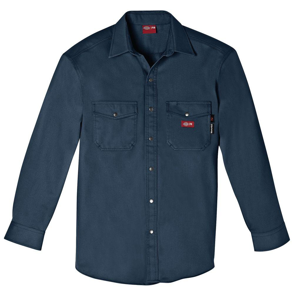 Men's Extra Large Navy Flame Resistant Long Sleeve Twill Snap Front