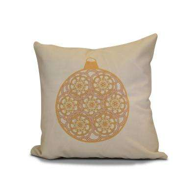 16 in. Snowflake Bulb Holiday Gold Pillow