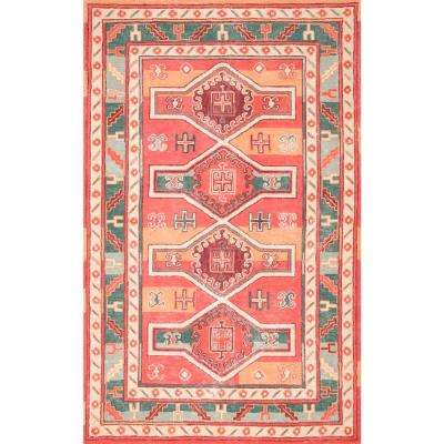 Transitional Tribal Shelley Peach 5 ft. x 8 ft. Area Rug