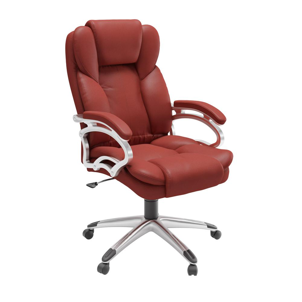 Brick Red Leatherette Workspace Executive Office Chair