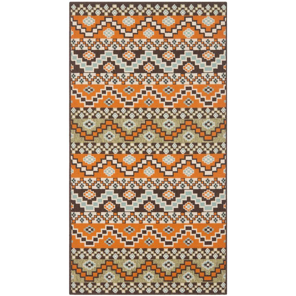 Safavieh Veranda Terracotta/Chocolate 2 ft. 7 in. x 5 ft. Indoor/Outdoor Area Rug