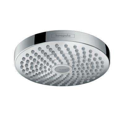 Croma Select S 180 2-Spray 7 in. Fixed Round Showerhead with Select Button in Chrome