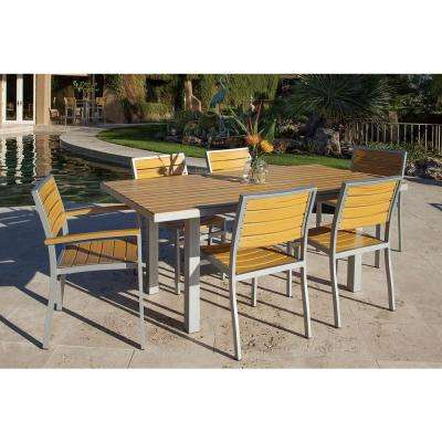 Basics Textured Silver All-Weather Aluminum/Plastic Outdoor Dining Set in Plastique Slats