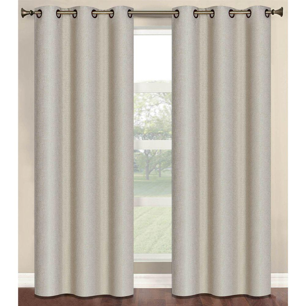 Semi-Opaque Marina Faux Linen 84 in. L Room Darkening Grommet Curtain