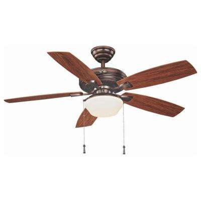 Gazebo 52 in. LED Indoor/Outdoor Weathered Bronze Ceiling Fan with Light Kit