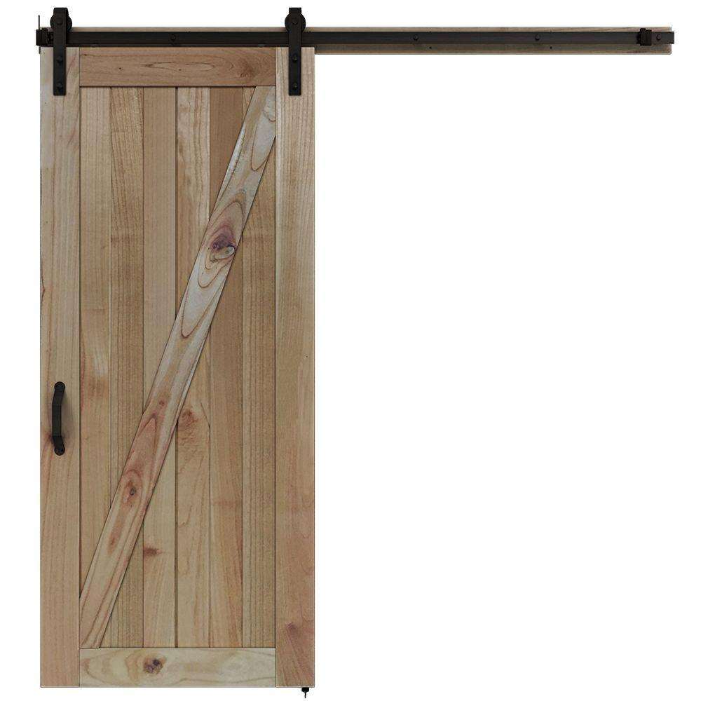 Jeld Wen 36 In X 84 In Rustic Unfinished Wood Barn Door With