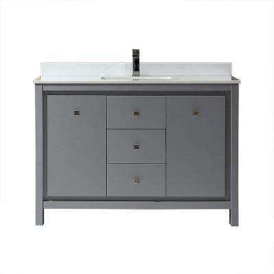 Kevin 48 in. W x 22 in. D Bath Vanity in Pebble Grey with Marble Vanity Top in White with White Basin