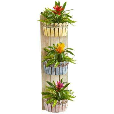 39 in. Indoor Bromeliad Artificial Plant in Three-Tiered Wall Decor Planter