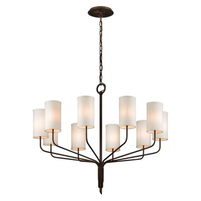 Juniper 10-Light Juniper Bronze 42 in. D Chandelier with Off-White Hardback Linen Shade